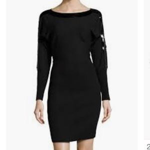 Andrew Marc Sequin trimmed sweater dress